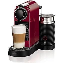 Nespresso Krups Citiz XN7605 - Cafetera monodosis de cápsulas Nespresso con aeroccino, compacta, 19 bares, apagado automático, color granate