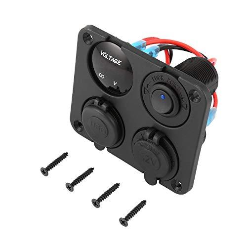 Elviray Dual USB-Anschlüsse Autoladegerät + LED-Voltmeter + 12-24-V-Steckdose + EIN-Aus-Schalter 4 in 1 Auto Marine Boat LED-Schalttafel -