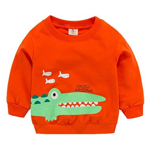 5ebcf7590 Toddler Kid Bébé Fille Garçon Vêtements Manches Longues Dessus De T-Shirt  Imprimé (Orange