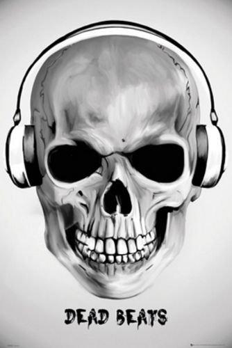 Dead Beats (diseño de calavera con Auriculares) Póster