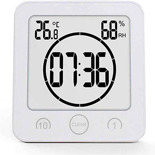 PrideSong Große Bildschirmanzeige LED digitaler Wecker Temperaturanzeige Badezimmeruhr wasserdicht Countdown-Timer Weiß