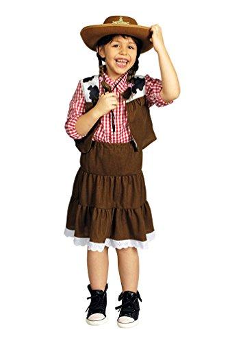 Karneval Klamotten Cowboy Cowgirl Kostüm Kinder Mädchen Western-Kostüm Rock, Cowboy-Hemd inkl. Weste Größe 98/104