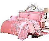 SR.Textiles Luxus-Bettwäsche-Set aus Seide, Satin, sehr weich, erhältlich in Allen Farben und Größen, Satin, Babyrosa, 5pc UK Single