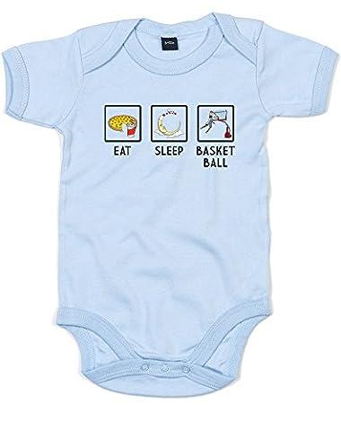 Eat Sleep Basketball, Alt, Imprimé bébé grandir - Dusty Bleu/Noir/Transfert 12-18 Mois