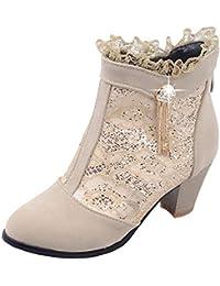 656d3e1a581a YE Strass Bottes Dentelle Lacees Femme Chaussures Bottines Mi-Talon Bloc  Ankle Knee Boots Hiver Chaude…