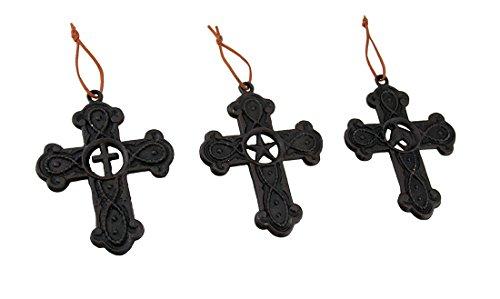 Kreuz, Western Star und Pferd Kopf Gusseisen Wand Kreuz 3Stück Set (Star Wand Western)