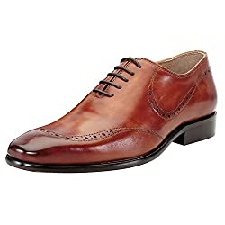BRUNE Tan Color 100% Genuine Leather Formal Oxford Shoes For Men size-6
