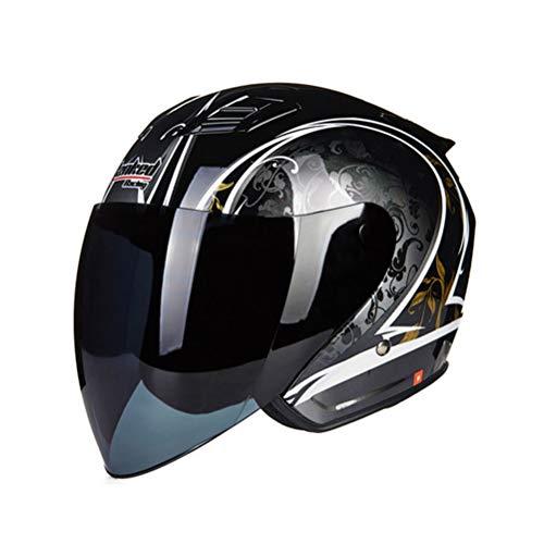 Casco moto mezza faccia, uomo donna doppia lente anti fog Protezione UV Casco moto moto maglia aerea impermeabile Motocross per bici elettrica, tutte le stagioni