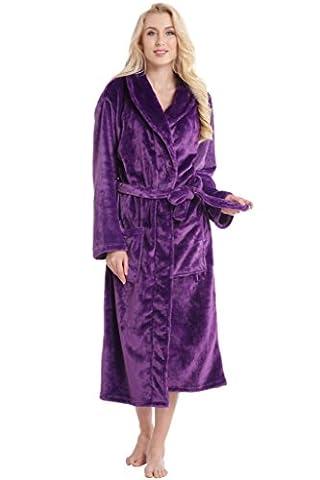 Aibrou pyjama femme polaire Robe chambre homme longue Hiver sortie de bain peignoir pas cher personnalisé Violet EU40-42