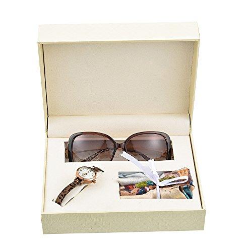 Souarts Damen Uhr Geschenk Set mit Damen Mesh Metallarmband einfach Stil Casual Analoge Quary Armbanduhr und Sonnenbrille und Seidentuch Set Braun