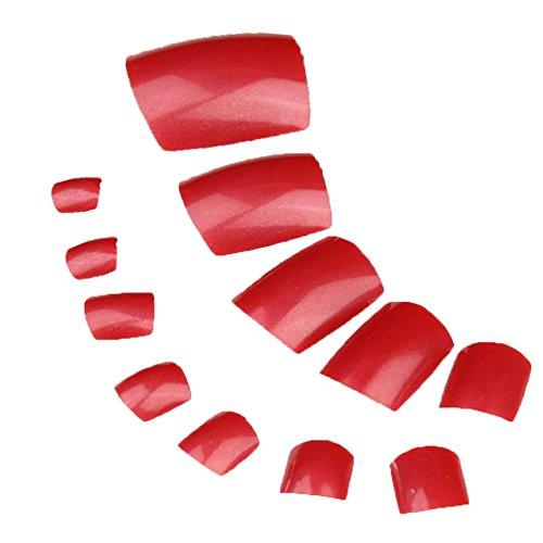 Vococal® 2 Taschen von 48 Stk Pediküre ABS Zehennägel Dekoration Nagel Patch - Falsche Künstliche Toe Nailart Tipps Dekoration Nagelspitzen Dekorationen, Rot