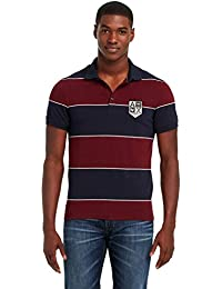 Armani Exchange AX Muscle Slim Fit Yarn-Dyed Striped Polo T-Shirt Burgundy / Blue US Sizes Imported
