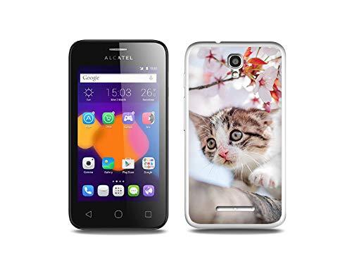 etuo Handyhülle für Alcatel One Touch PIXI First - Hülle, Silikon, Gummi Schutzhülle - Junge Katze