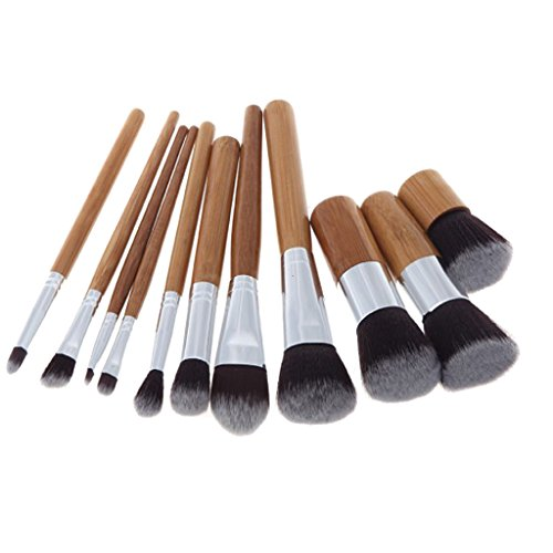 Sharplace 9pcs Maquillage Professionnelle Pinceau pour Foundation Eyeshadow Poignée en Bambou Naturel Brosses en Fibres de Nylon