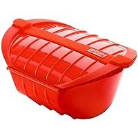 Lékué Ogya - Estuche hondo XL para el microondas, capacidad de 1000 ml, para 3-4 personas, color rojo