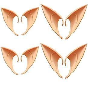 Xinlie Orejas de Elfo Orejas de látex Orejas de látex Colores de la Piel para Halloween Carnival Party Pixie Cosplay Accesorios Hadas Goblins (4 Pares)