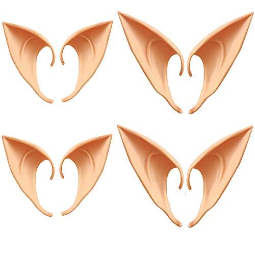 Xinlie Elfenohren Fairy Ear Latexohren Spitzohren Hautfarben für Halloween Karneval Party Pixie Cosplay-Zubehör Feen Kobolde (4 Paar)