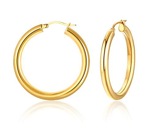 deter Edelstahl 38 mm große runde Röhrchen Ohrringe für Mädchen, 4 mm Röhrchen ()