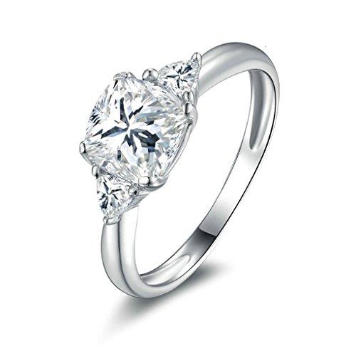 Daesar Silberring Damen Ring Silber Ehering für Damen Verlobungsring Benutzerdefinierte Ring 4-Prong Strass Ring Größe:54 (Kostüm Paar Kaugummiautomaten)