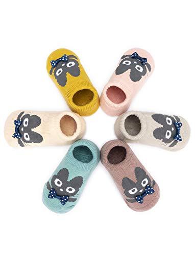 Adorel Adorel Baby Kinder Anti-Rutsch Socken Stoppersocken 6er-Pack Tier-Motiven 0-2 Jahren