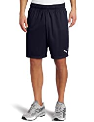 Puma Mens Team Shorts without Inner Slip, Youth Small, New Navy-White