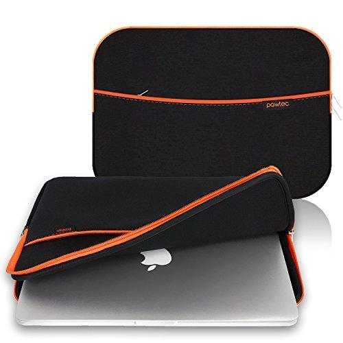 Pawtec Laptop Tablet Neopren Schutzhülle Aufbewahrung Tragetasche Sleeve mit Tasche mit extra Stauraum schwarz Black 13 inch MacBook -