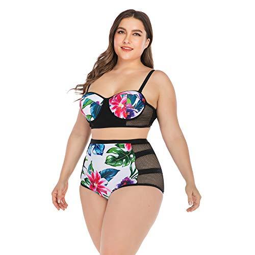 HBRT Große Größe Damen hohlen Badeanzug, Sexy Bikini zweiteiligen Badeanzug mit Stahl Unterstützung Brust Pad für Bademode Beachwear,XXL (Rash Guard Mit Brust-pad)