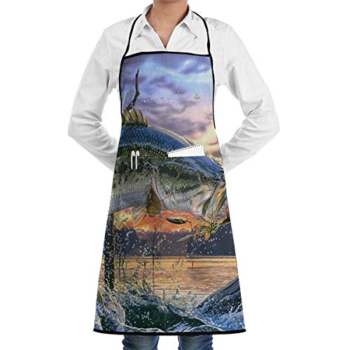 Drempad Schürzen/Kochschürze, Fishing Bass Mouth Apron Kitchen Cooking Commercial Restaurant Apron for Women and Men-Perfect for Gifts
