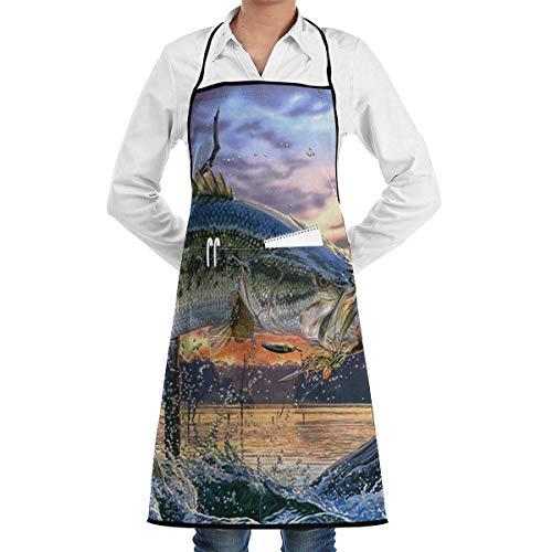 Kellner Kostüm Italienische - Drempad Schürzen/Kochschürze, Fishing Bass Mouth Apron Kitchen Cooking Commercial Restaurant Apron for Women and Men-Perfect for Gifts