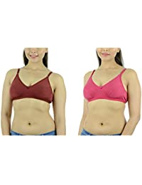 Ishita Fashions Women's Cotton Bra (Maroon, Pink) - 2 PCs Combo