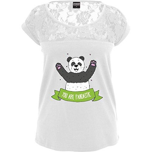 Statement Shirts Panda You are pandastic Sexy Damen TShirt mit Spitze im  Schulterbereich Weiß