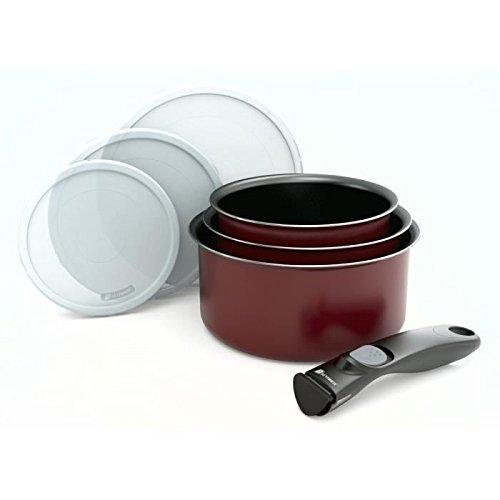 Batterie de cuisine 7 pieces + poignée amovible rouge