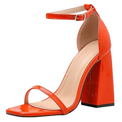 Sandalen Damen Sommer Omingkog Keile Schuhe einfaches Wort mit dicken Sandalen mit hohen Absätzen Fesselriemen Schuhe Freizeit Sommerschuhe(Orange,65)