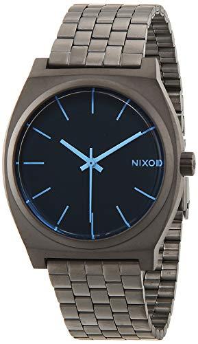 Nixon Herren-Armbanduhr Time Teller Gunmetal/Blue Crystal Analog Quarz Edelstahl A0451427-00