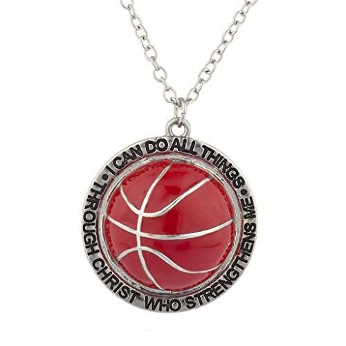 Lux Accessories LUX Zubeh?r Silber I Can Do All Things Religi?se Basketball Charme Halskette