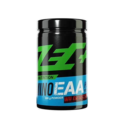 ZEC+ Amino EAA Pulver Formula Plus, Aminosäuren Pulver mit EAAs & BCAAs, für schnelleres Muskelwachstum und besseren Muskelerhalt, mit Vitamin B3, B6 und B12, 500 g, Geschmack Wildkirsche