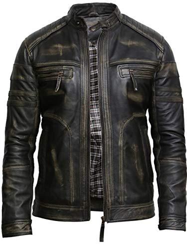 Brandslock Herren Echtes Leder Biker Jacke Vintage (XL, Schwarz)