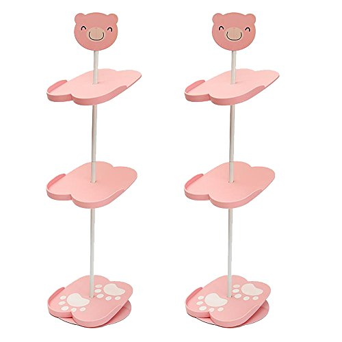 Schuhständer, für Kinder geeignet, Kunststoff, platzsparendes Design, 3 abnehmbare Ablageflächen 2 Pink Panda