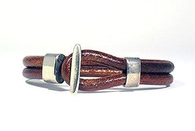 Bracelet Fait Main avec Double Cordon en Cuir Brun et Fermeture Nautique en Argent pour Homme