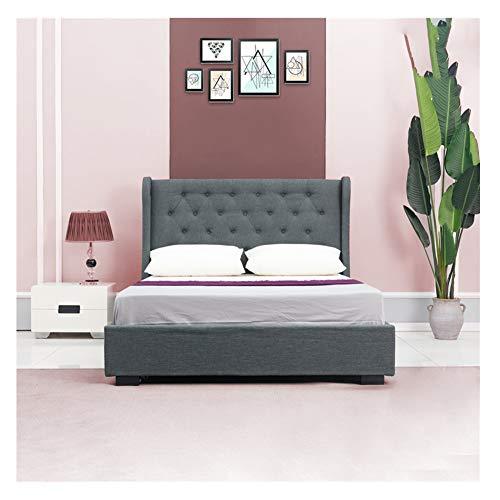 OFCASA Luxuriös Polsterbett Doppelbett Claire 140 x 200 cm Inklusive Lattenrost, mit Stoffbezug, für Schlafzimmer, Hotel (grau 1)
