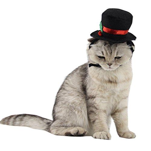 Pet Dogs Cats Black Soft Comfürtable Plush Elastic 26-30cm Christmas Winter Festival Hat (Black Dog Halloween-kostüm)