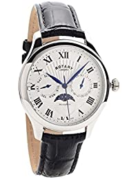 Gents Mens Stainless Steel Rotary Quartz Battery Watch on Black Leather Strap with Calendar and Moonphase. GS05065/01