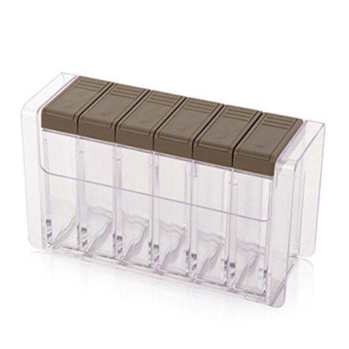 WINOMO 6 Stück Gewürzstreuer Gewürzspender mit Gewürzregale (Grau Transparent)