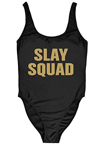 696fc3130e1 QIANMEI Woman's Cute Slay Squad Letters Printed One Piece Swimsuit Swimwear  High Cut Thong Monokini -