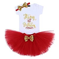 AmzBarley Baby Girls Unicorn Romper Tulle Tutu Skirt My 1st Birthday Short Sleeves Rompers Tops Kids Outfit Clothing Sets for Infants Toddlers, Style B Red, Age 12 Months/1 Year