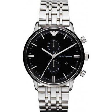 Emporio Armani Emporio Armani Classic Chronograph Black Dial Stainless Steel Mens Watch AR0389