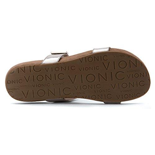 Vionic Womens Grace Jura Leather Sandals Silver