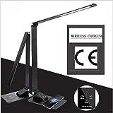 ZSKJ LED Tischleuchte mit Qi-Funk-Ladepad, moderner Metall-Tischleuchte, 3 Farben und 5 Helligkeitsstufen - USB-Ladeanschluss