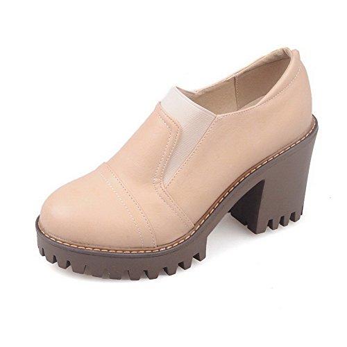AllhqFashion Femme Tire à Talon Haut Pu Cuir Couleur Unie Rond Chaussures Légeres Abricot