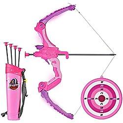 SainSmart Jr. Arco Set niños Tiro con Arco Juegos con 5 Flechas de Tiro, Regalo para niñas a Partir de 6 años, Color Rosa